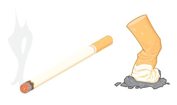 illustrazioni stock, clip art, cartoni animati e icone di tendenza di il fumo di sigaretta con cenere e glutei - cicca sigaretta