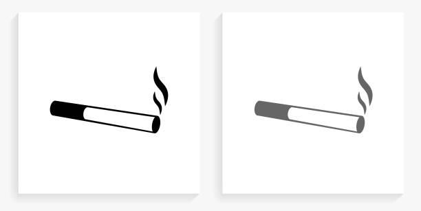 Cigarette Smoking Black and White Square Icon vector art illustration