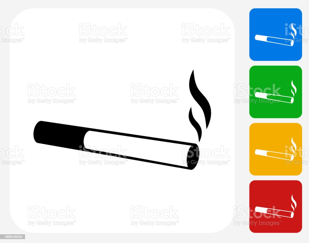 Cigarette Smoking Icon Flat Graphic Design vector art illustration