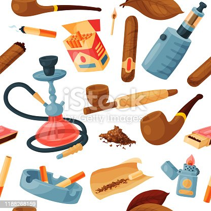 Cigarette vector smoking tobacco or cigar with nicotine and cigarette-end in ashtray illustration set of cigar-case or hookah and tobacco leaves, isolated on white background.