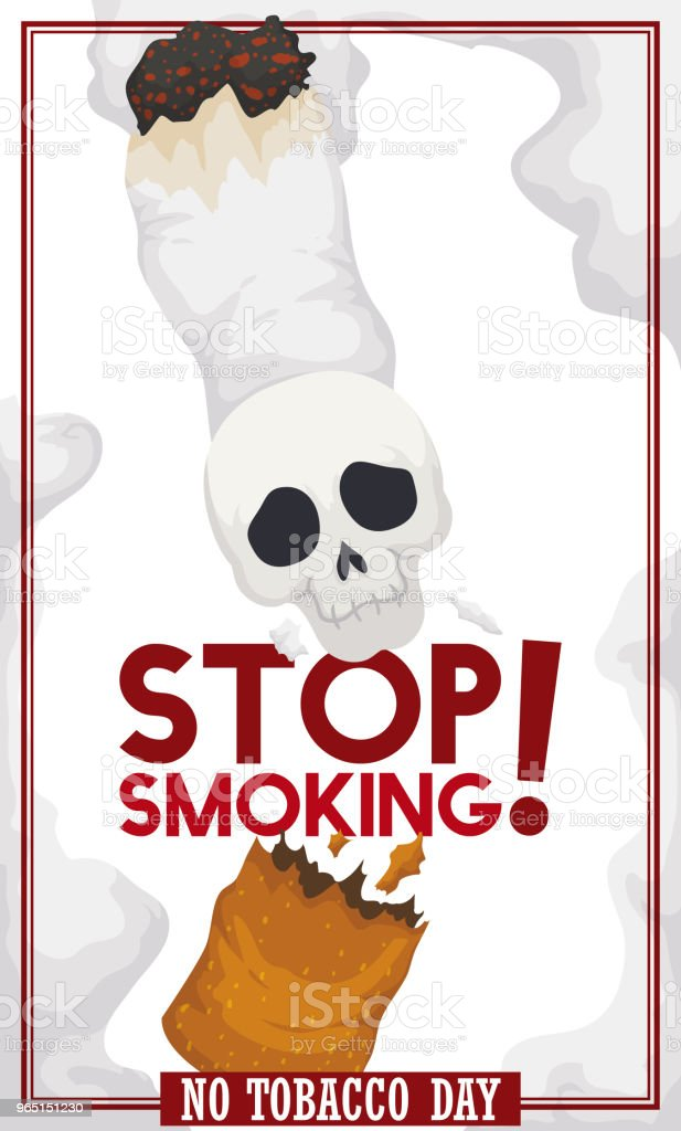 Cigarette with Skull Broken: Awareness Message for No Tobacco Day royalty-free cigarette with skull broken awareness message for no tobacco day stock vector art & more images of addict