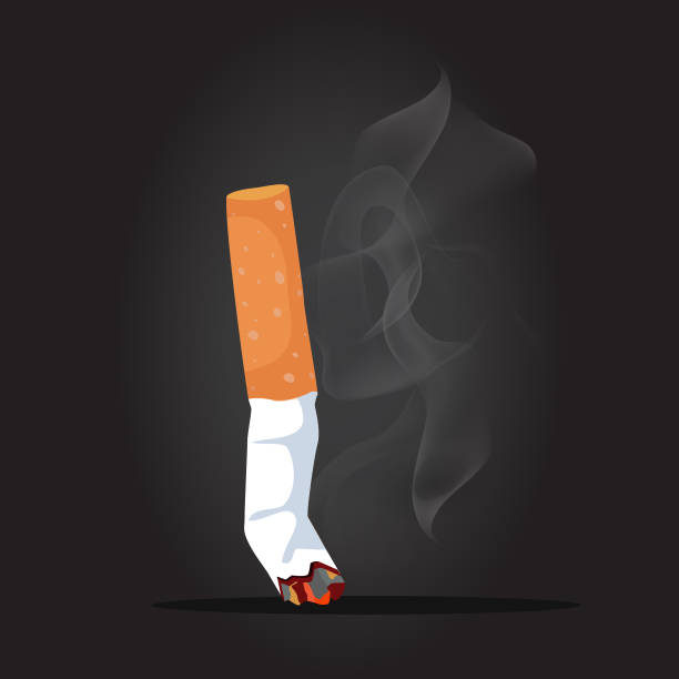 Cigarette with smoke background Vector illustration, Flat and minimal vector file With Copy Space icon crushed stock illustrations