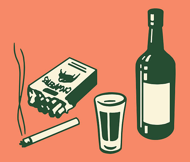 cigarettes and alcohol - bachelor party stock illustrations, clip art, cartoons, & icons