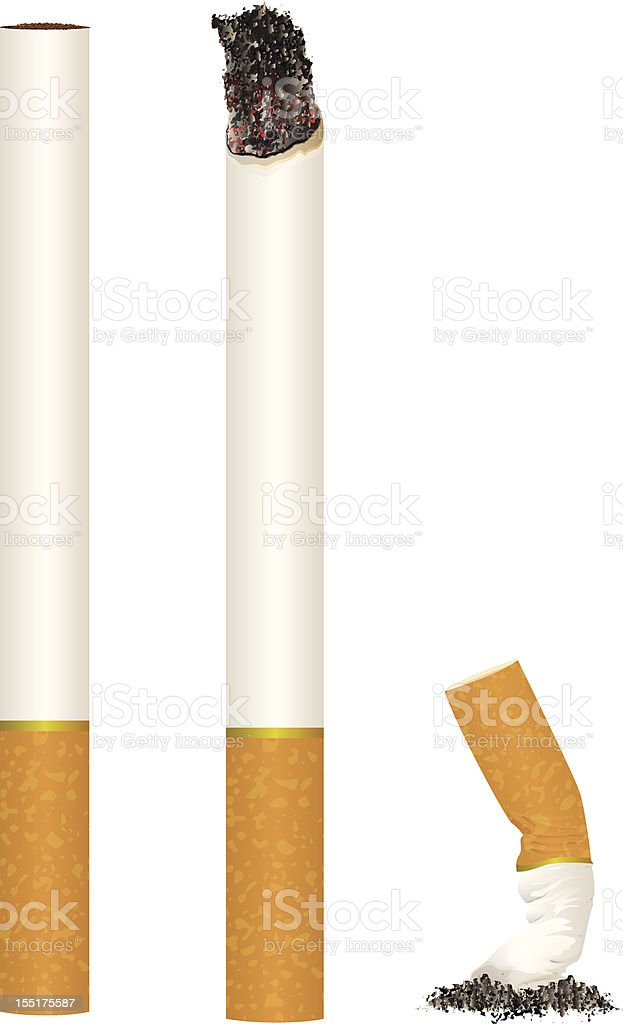Cigarettes and Butts vector art illustration