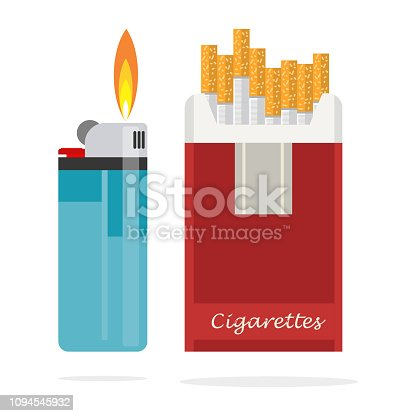 Cigarettes pack box and lighter with fire.