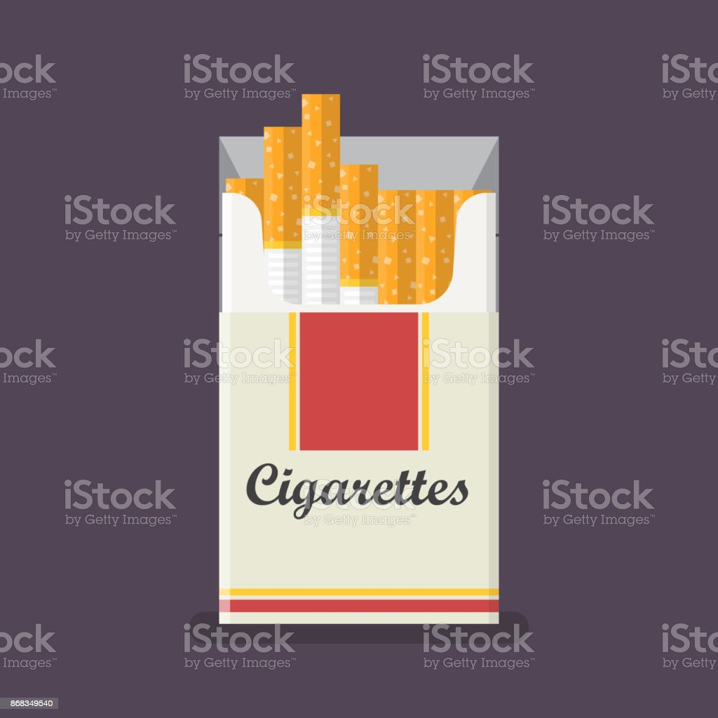 Cigarettes pack in flat style vector art illustration