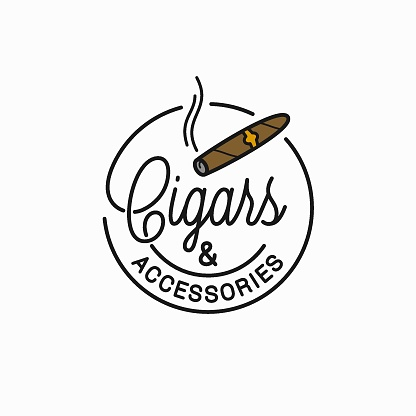 Cigars and accessories design. Round linear of cigar on white background