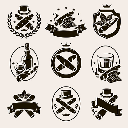 Cigars label and icons set. Collection icon cigars. Vector