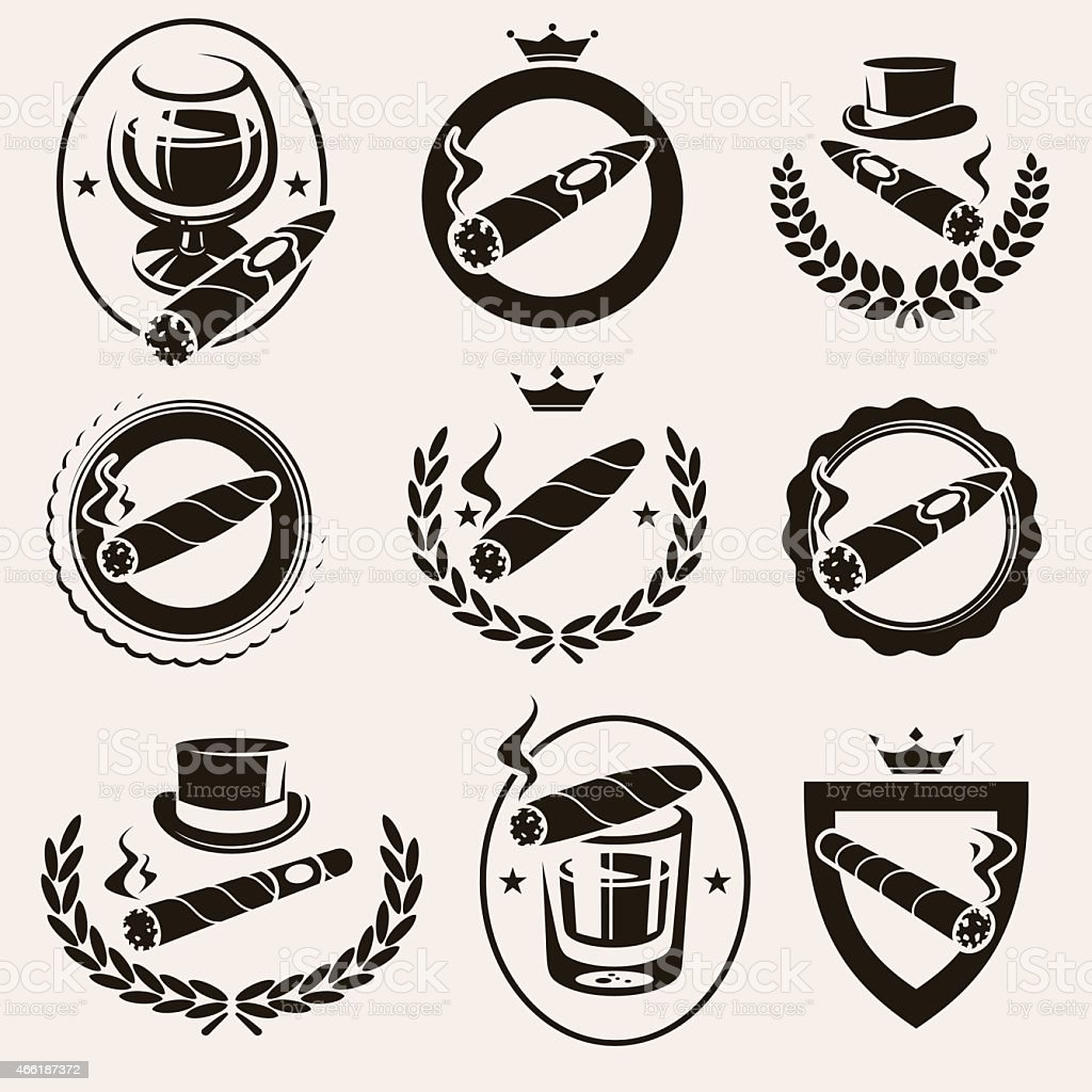 Cigars label and icons set. Vector vector art illustration