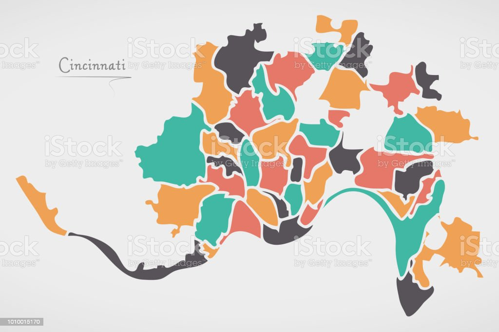 Cincinnati Ohio Map With Neighborhoods And Modern Round Shapes Stock