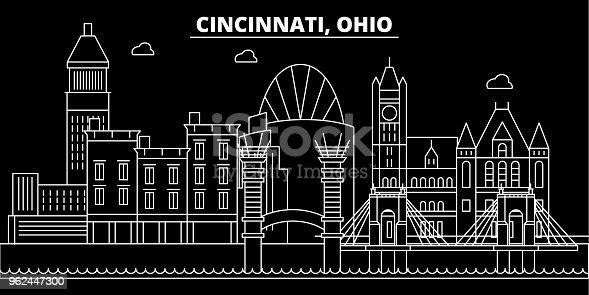 Cincinnati silhouette skyline. USA - Cincinnati vector city, american linear architecture, buildings. Cincinnati line travel illustration, landmarks. USA flat icon, american outline design banner