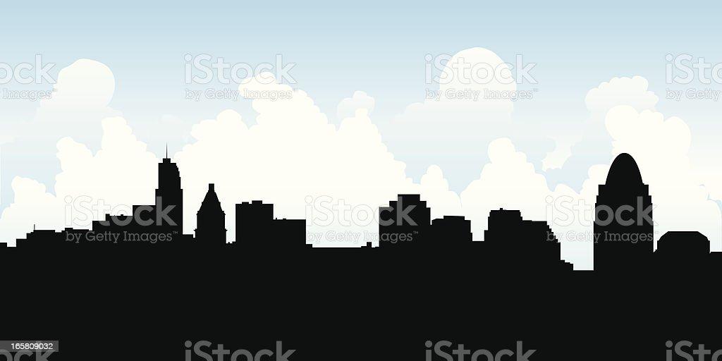Cincinnati Skyline Silhouette royalty-free cincinnati skyline silhouette stock vector art & more images of built structure