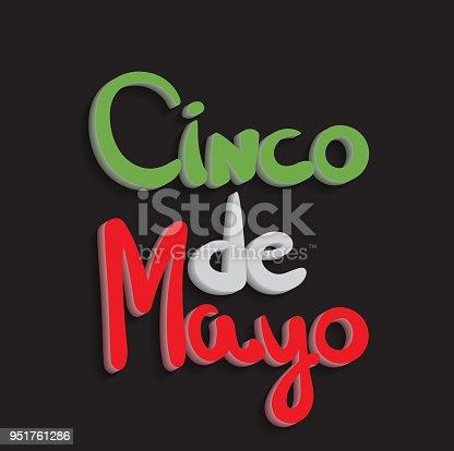 istock Cinco de mayo 3d hand lettering. Vector illustration. 951761286
