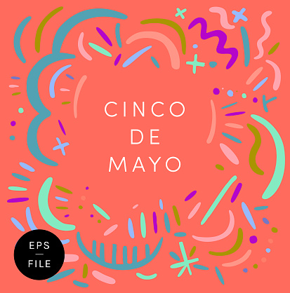 Cinco de Mayo. 5th May. The fifth of May Day. A festive funky eps vector design for the Mexican national holiday. White text lettering banner sign, greeting card, newsletter header, social media post. Trendy colorful ornaments, bright vivid tones