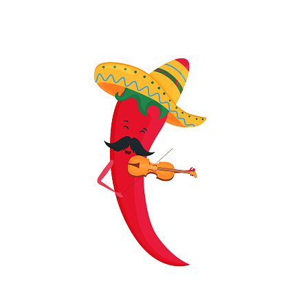Cinco de Mayo. 5th of May. Funny cartoon chili pepper in a sombrero plays the violin.