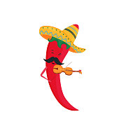 Cinco de Mayo. 5th of May. Funny cartoon chili pepper in a sombrero plays the violin