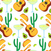 Cinco de Mayo. 5th of May. Guitarron, cactus, taco, avocado, margarita - clipart to national Mexican holiday seamless pattern. Can be used as wallpaper, wrapping paper, textiles.