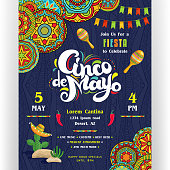 Text customized for invitation for fiesta party. Maracas and cactus in sombrero. Mexican style ornaments for border and background. Vector illustration.