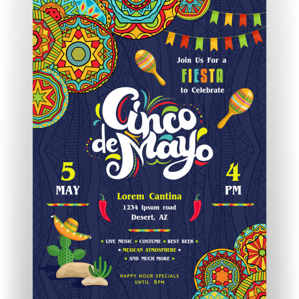 Cinco De Mayo announcing poster template with creative lettering. Text customized for invitation for fiesta party. Maracas and cactus in sombrero. Mexican style ornaments for border and background. Vector illustration. cinco de mayo stock illustrations