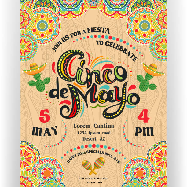 Cinco De Mayo announcing poster template with ornate lettering and cactuses in sombrero. Text customized for invitation for fiesta party. Mexican style rich ornamented border and background. Vector illustration. cinco de mayo stock illustrations