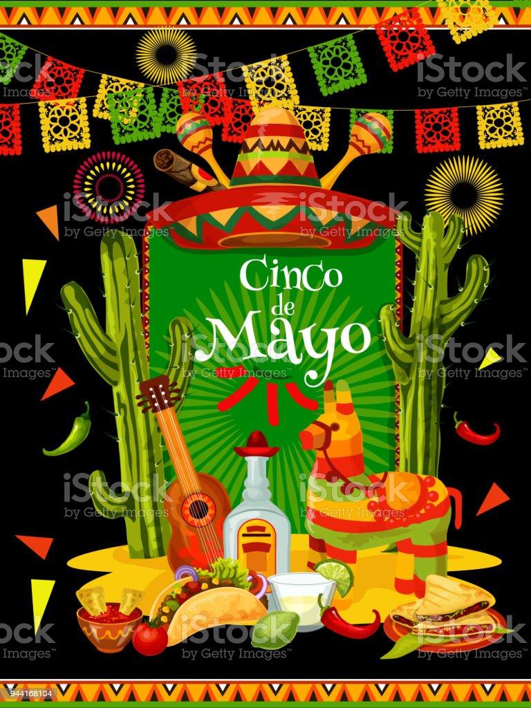 cinco de mayo banner for mexican party invitation stock vector art