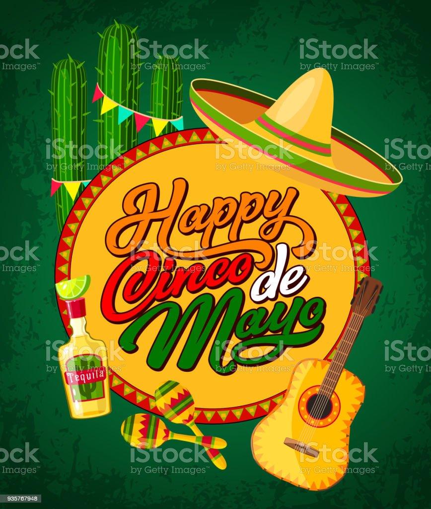 Cinco De Mayo Banner With Fiesta Party Symbols Stock ...