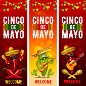 Cinco de Mayo banners set with skull and cactus in sombrero, red peppers jalapeno and with maracas and guitar - symbols of holiday. Vector illustration.