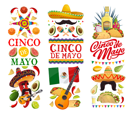 Cinco de Mayo banners with Mexican food and chilli