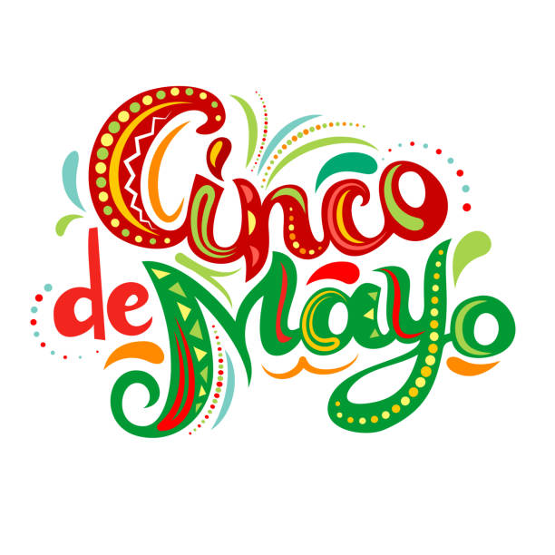 Cinco De Mayo bright ornate letters. Greeting lettering with abstract Mexican style ornament. Vector illustration. cinco de mayo stock illustrations