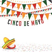Cinco De Mayo bunting background with flags, confetti, sombrero and hot pepper. EPS 10 vector Royalty free stock illustration for ads, marketing, poster, flyer, blog, article, social media, signage, web page, greeting card and more. No open shapes or paths, grouped for easy editing.