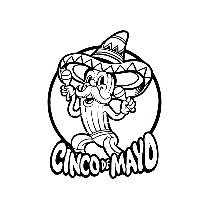 Cinco de mayo cactus playing Silhouette illustrations for your work Logo, mascot merchandise t-shirt, stickers and Label designs, poster, greeting cards advertising business company or brands.