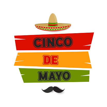 Cinco de Mayo card, banner with hat. vector