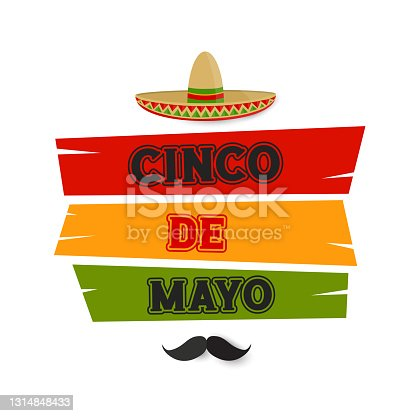 istock Cinco de Mayo card, banner with hat. vector 1314848433