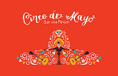 Cinco de Mayo card of mariachi hat and decoration