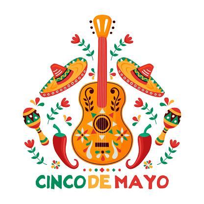 Cinco de Mayo card of mexican culture decoration