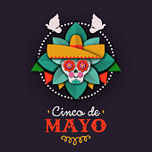 Cinco de Mayo card of papercut skull mariachi