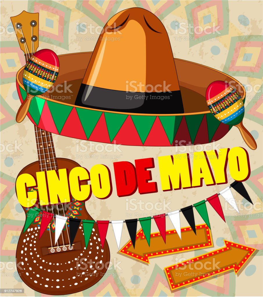 cinco de mayo card template hat and guitar stock vector art more