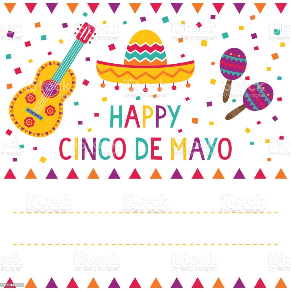 Cinco de Mayo card (a sombrero, a guitar, maracas and confetti) vector art illustration