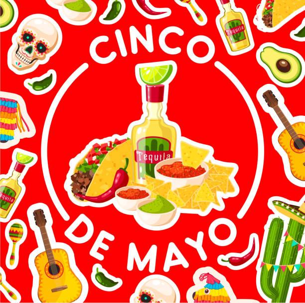メキシコのフィエスタ パーティー フードとシンコ ・ デ ・ マヨ カード - メキシコ料理点のイラスト素材/クリップアート素材/マンガ素材/アイコン素材