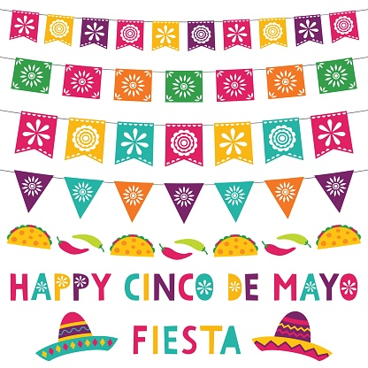 Cinco de Mayo card with party banners and sombreros
