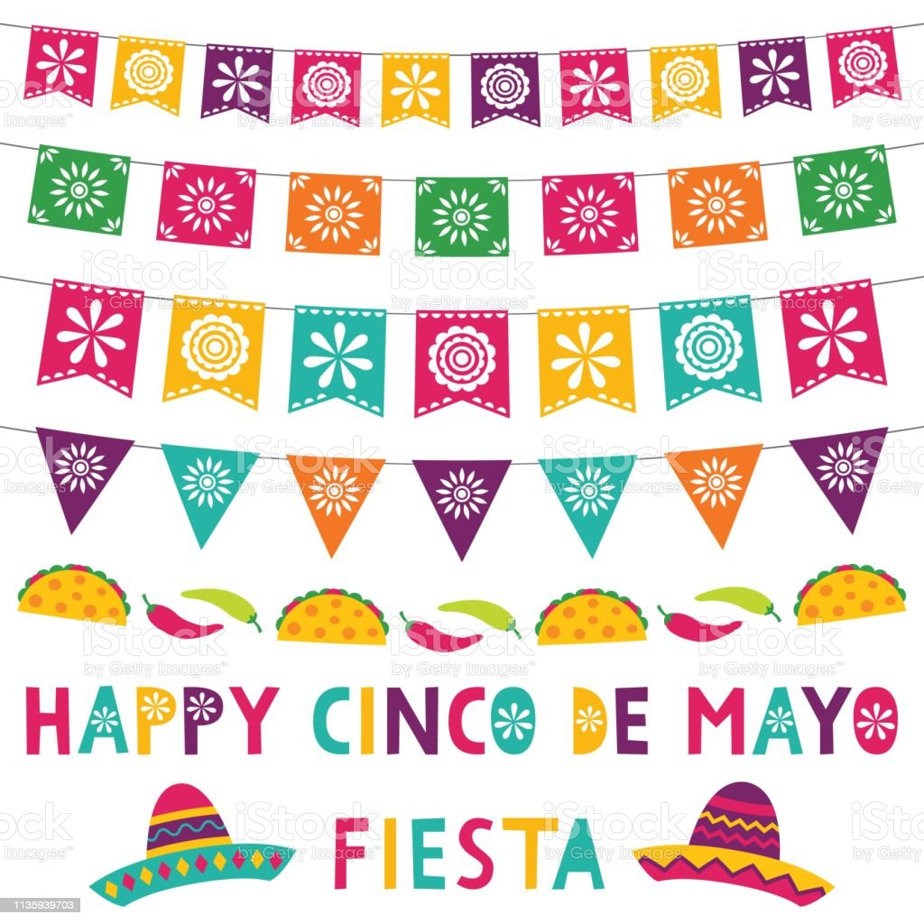 Cinco de Mayo card with party banners and sombreros vector art illustration