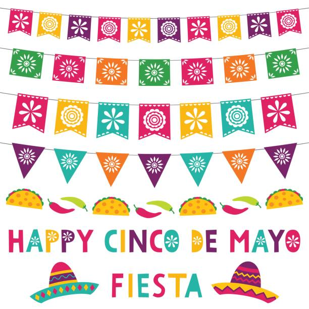 Cinco de Mayo card with party banners and sombreros Cinco de Mayo card with party banners and sombreros cinco de mayo stock illustrations
