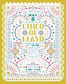 Cinco De Mayo celebration announce poster design with paper cut elements.