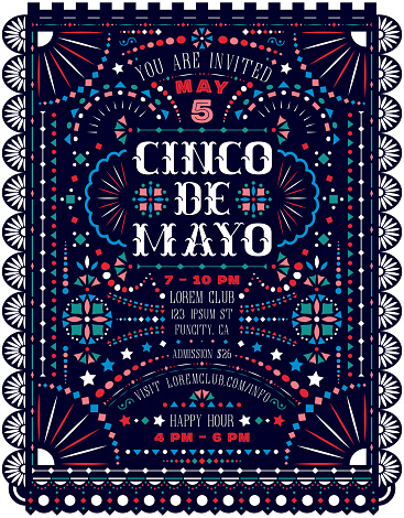 Cinco De Mayo celebration announce poster template with Mexican national decorative ornaments.