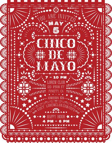 Cinco De Mayo celebration announce poster with paper flag cut design.