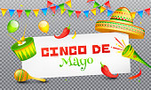 Cinco De Mayo celebration header banner or poster design on png background with music instrument, sombrero hat and red chilli. mexican fiesta party.