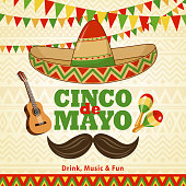 Celebrate Cinco De Mayo with bunting, sombrero, guitar, maracas and mustache on the folk art pattern for the fiesta