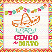 Celebrate Cinco De Mayo with papel picado, sombrero and mustache on the folk art pattern for the fiesta