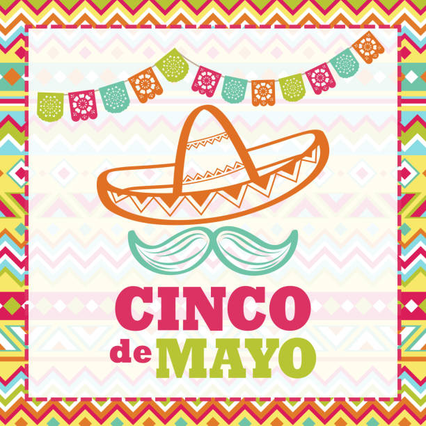 Cinco De Mayo Celebration Celebrate Cinco De Mayo with papel picado, sombrero and mustache on the folk art pattern for the fiesta cinco de mayo stock illustrations