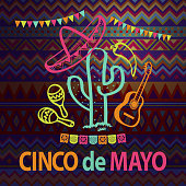 Celebrate Cinco De Mayo with bunting, papel picado, maracas, sombrero, pepper and guita on the folk art pattern for the fiesta
